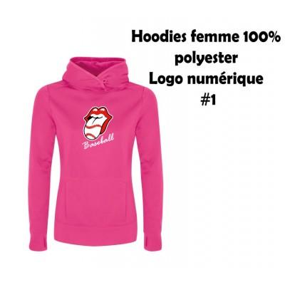 Baseball hoodies femme polyester #1